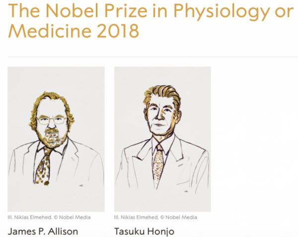 发现抗癌新路径 美日教授共获2018诺贝尔生理学或医学奖